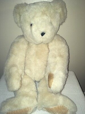 """Authentic Vermont Teddy Bear Co Handmade Fully Jointed 16"""" Plush Toy Tan USA EX!"""