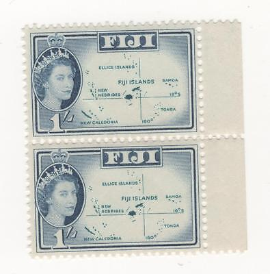 FIJI 1954 - 1967 QEII - 1966 1/- Blue   - Map  SG#317 JOINED PAIR selvage MUH