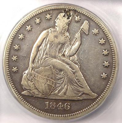 1846 Seated Liberty Silver Dollar $1 - ICG XF40 Details - Rare Early Date Coin!