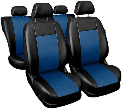 CAR SEAT COVERS full set fits Ford Focus Universal Leatherette Black/Blue