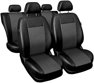 CAR SEAT COVERS full set fits Audi A3 A4 A6 A8 Universal Leatherette Black/Grey