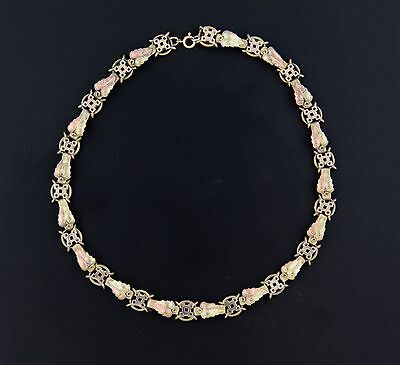 Unsigned Antique Victorian Gold Fill Choker  Necklace -Tri-Color!