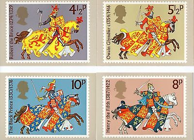 1974 Great Britons - Medieval Warriors PHQ 7 - Mint Cards (Set of 4 Post Cards)