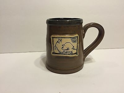 Deneen Pottery Hand Thrown Bulldog Coffee Mug Cup EUC