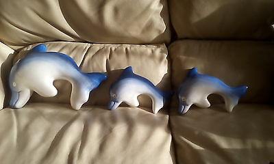 3  Dolphins WALL/ plaque  ORNAMENTS-CERAMIC [NOT GLASS]- mother and 2 babies