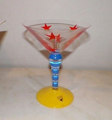 Orrefors Clown Martini Glass Anne Nilsson Never Used With Box Red Stars