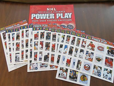 2002-03 NHL Power Play Sticker Collection booklet and 168 stickers in 18 sheets