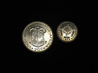 Lot of 2 1964 South Africa 5, 20 cents silver