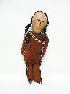 ANTIQUE TRIBAL ( ? Sioux Indian ? ) CHILD'S LEATHER / RAG DOLL