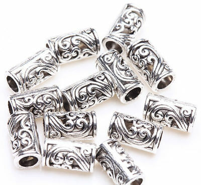50pcs Tibetan Silver Tube Charm Loose Spacer Beads Bracelet Jewelry Finding