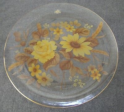 "Viking Glass Clear With Yellow & Brown Floral Pattern 12"" Platter Gold Gilt"