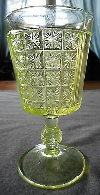 L.g Wright Reproduction Canary Vaseline Two Panel Pattern Water Goblet