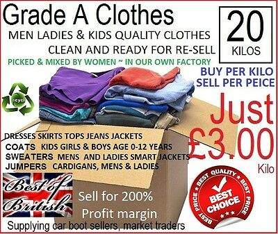 Re-Cycling Company ~ Grade A Clothes For Re-Sell, Men Ladies & Kids Mixed Lots