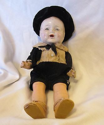 Antique Boy Doll Composition sleepy movable eyes, antique clothes