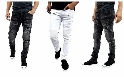 ETZO Men's biker jeans, Slim Skinny fit premium Ripped Distressed Denim (J7520C)