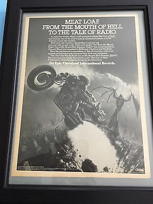 "1977 original Meat Loaf ""Bat Out Of Hell"" Album release 11X14"" In 15X19"" Frame"