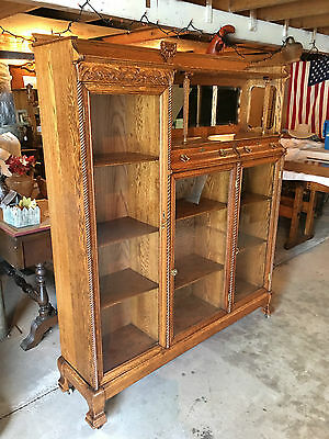 Antique Solid Oak China Cabinet-Very Ornate-Ready For Your Home