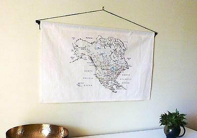 USA & Canada Map | Fabric map to sew or color | Travel embroidery kit |