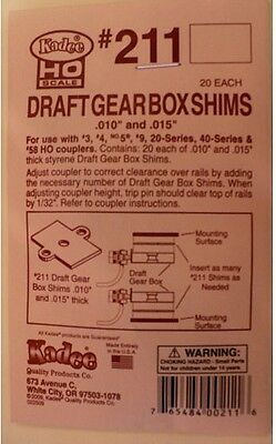 Kadee Draft Gear Box Shims #211 - 40 in PKT - FREIGHT 1-10 UNITS $2.50 IN total