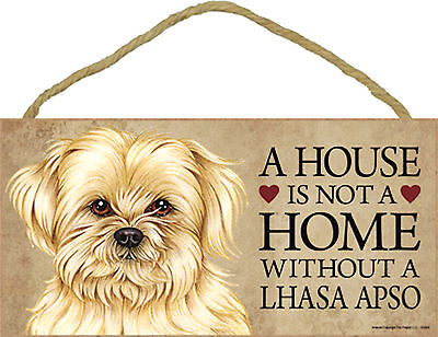 A house is not a home without a Lhasa Apso Dog Wood Sign Plaque Made in USA  NEW