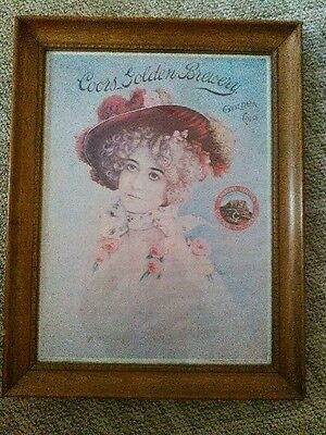 Vintage Coors sign golden brewery Lady original picture in frame