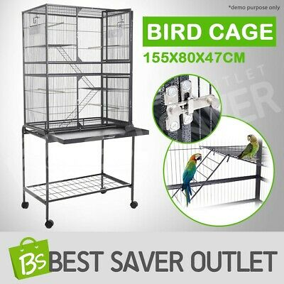 Large Stand-Alone Parrot Aviary Budgie Canary Bird Cage with Wheels 155x80x47cm