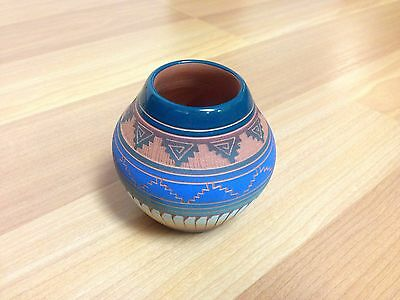 Native American Pottery by Hilda Whitegoat Red Clay Hand Etched Pot