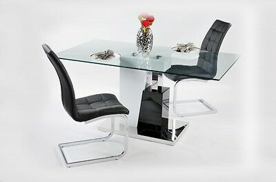 Modern Glass Dining Table 160x90cm with 6 PU Leather Chairs