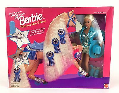 Western Stampin' Barbie Western Star Horse Special Edition 90s Set 11020 Cowgirl