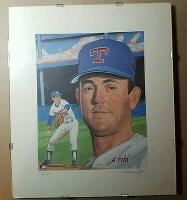 Nolan Ryan  Lithograph Autographed By Susan Rini  #172/1000 Nicely Framed
