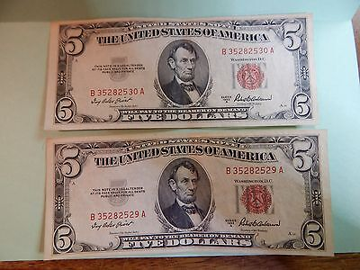 2  VG FIVE DOLLAR Bills 1953 A RED SEAL Consecutive numbers Priest & Anderson