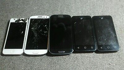 Lot of 5 Cell Phones for parts. Apple iPhone,Samsung,Tracfone read descriptuon