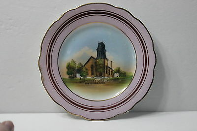 Vintage Antique Methodist Church Postville Iowa Decorative Plate Picture Pink Ia