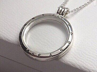 Genuine Pandora Sterling Silver Large Floating Locket Necklace with box