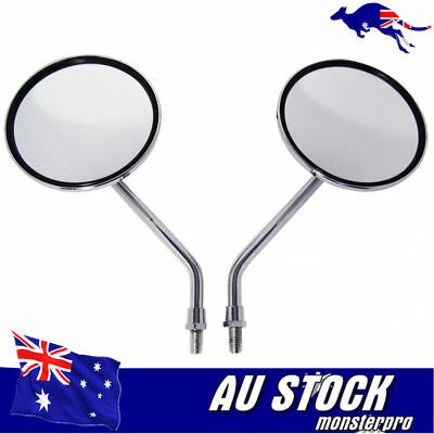 Universal Chrome Motorcycle bike 10mm Rear Side View Mirrors Cafe Racer