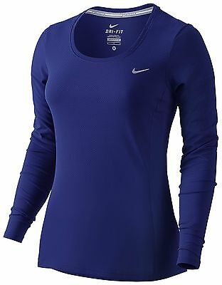 New Nike Dri-FIT  Contour Long-Sleeve Running Top/gym/fitness/training/navy topp