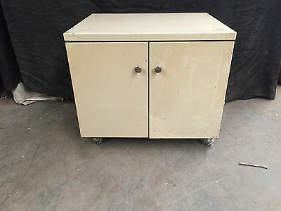 Vintage Cream Double Door Metal Storage Cabinet On Wheels Convenient Easy