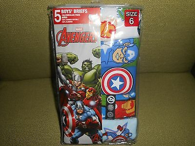 !!! Great Deal On 5 Pair Of Boy's Size 6 Marvel Avengers Briefs !!!