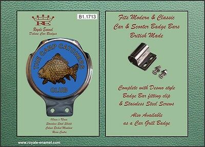 Royale Car Scooter Bar Badge & Clip - FISHING THE CARP CATCHERS CLUB - B1.1713