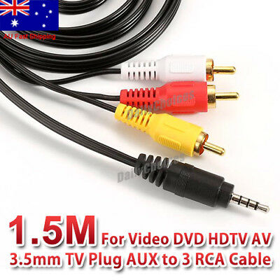 3.5mm TV Plug AUX to 3 RCA Audio Video DVD HDTV AV Cord Cable AU