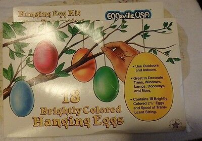 """Vintage Eggsville, USA -18 brightly colored  2 1/2"""" Easter eggs - hanging eggs"""