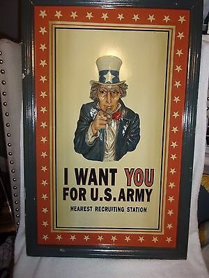 """Vintage Uncle Sam """"i Want You For U.s Army"""" 3D Sign"""