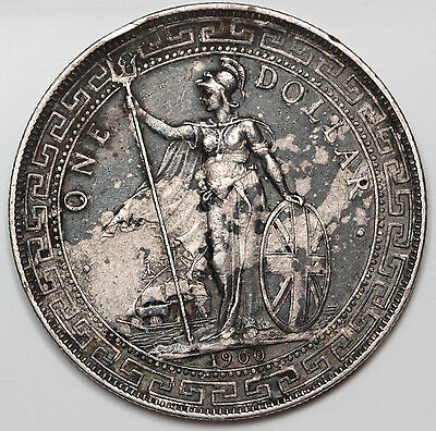 Great Britain UK 1900 B TRADE DOLLAR in China $1 Silver Coin XF/AU Dark Toned