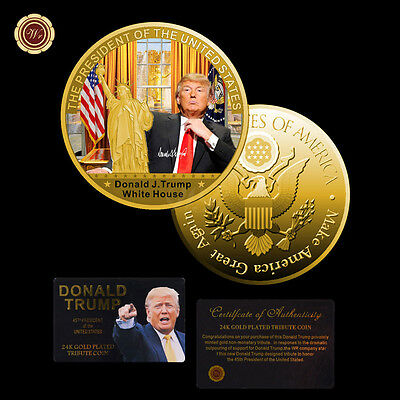 WR Donald Trump 24K Gold Coin Custom Challenge coin White House with certificate