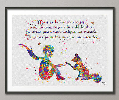 The Little Prince French Francais Quote Le Petit Prince and Fox Watercolor Print