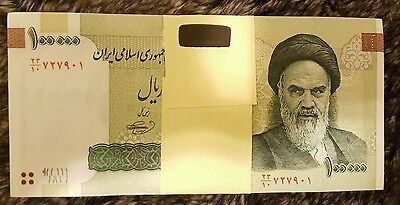 100×100000 (100,000) rials banknotes bundle ,uncirculated paper money currency