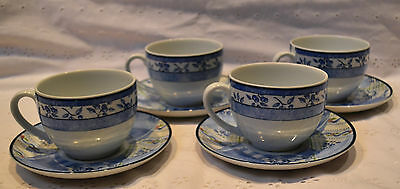 "4 x Wedgwood ""Indigo"" Cups & Saucers, Exellent Condition"