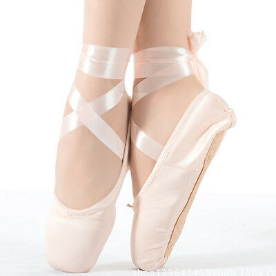 Women Satin Ballet Dance Shoes Fitness Girls Professional Pointe shoes Flat Toe