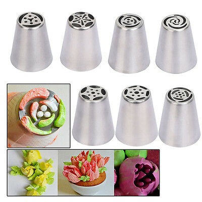 7Pcs Stainless Steel Icing Nozzles Set Piping Bag Cake Decorating Baking Tool