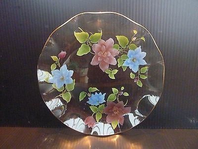 Chance Pilkington Fluted Glass Plate Floral Anenome Pretty